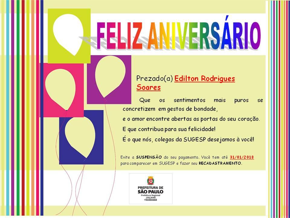 Feliz Aniversário 2018 Tia Lucia: Feliz Aniversário!!! Edilton Rodrigues Soares